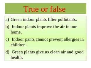 True or false Green indoor plants filter pollutants. Indoor plants improve th