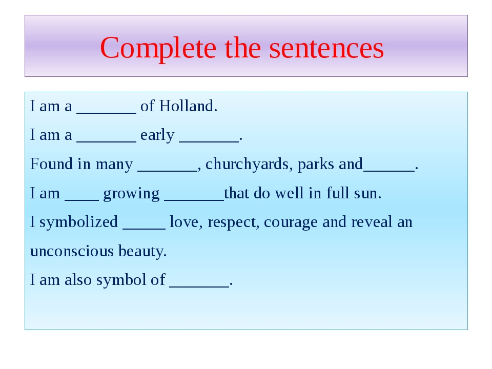 Complete the sentences I am a _______ of Holland. I am a _______ early ______...