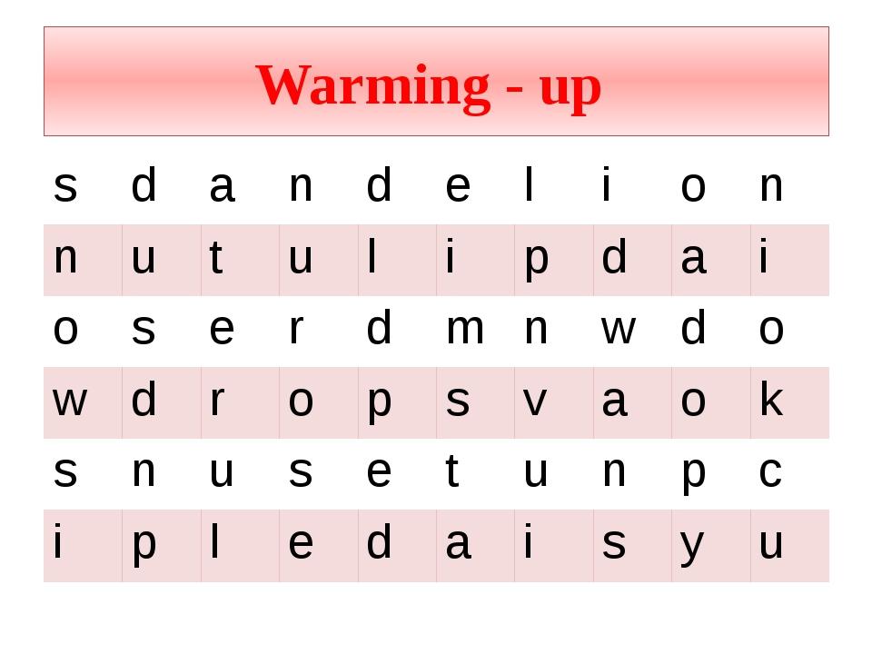 Warming - up s d a n d e l i o n n u t u l i p d a i o s e r d m n w d o w d...