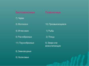 Беспозвоночные Позвоночные 7) Черви 3) Моллюски10) Пресмыкающиеся 4) Игл