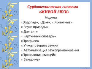 Сурдотехническая система «ЖИВОЙ ЗВУК» Модули: «Водопад», «Дом», « Животные»