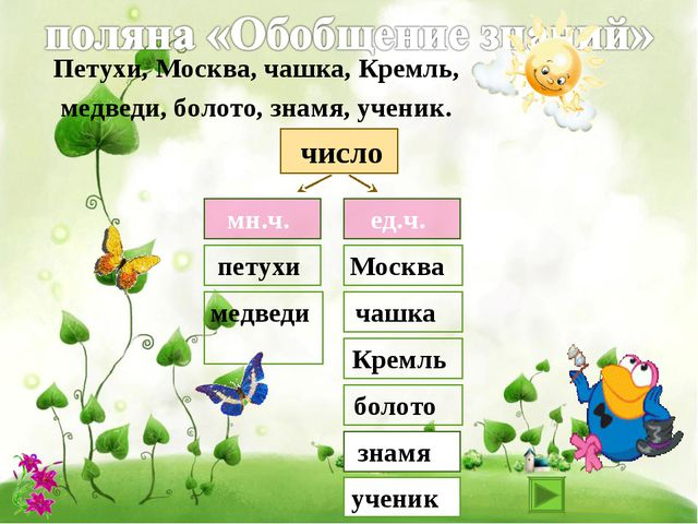 мн.ч. ед.ч. число петухи медведи Москва чашка Кремль болото знамя Петухи, Мо...