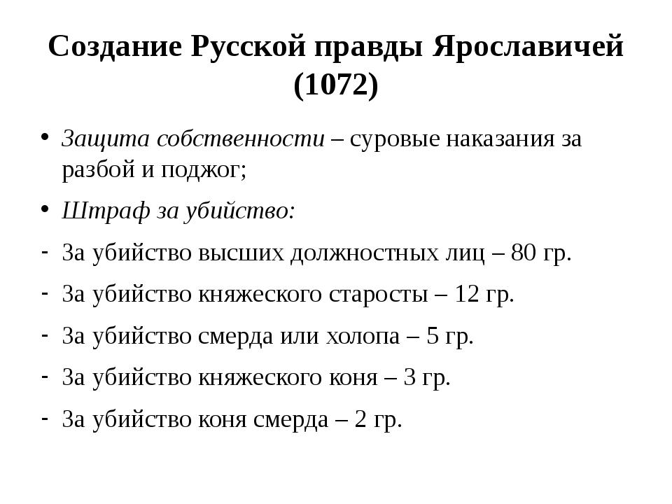 Создание Русской правды Ярославичей (1072) Защита собственности – суровые нак...