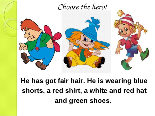 He has got fair hair. He is wearing blue shorts, a red shirt, a white and red...