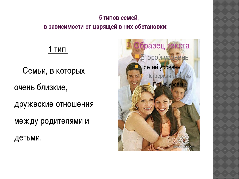 5 типов семей, в зависимости от царящей в них обстановки: 1 тип Сем...
