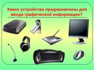 Какие устройства предназначены для ввода графической информации?