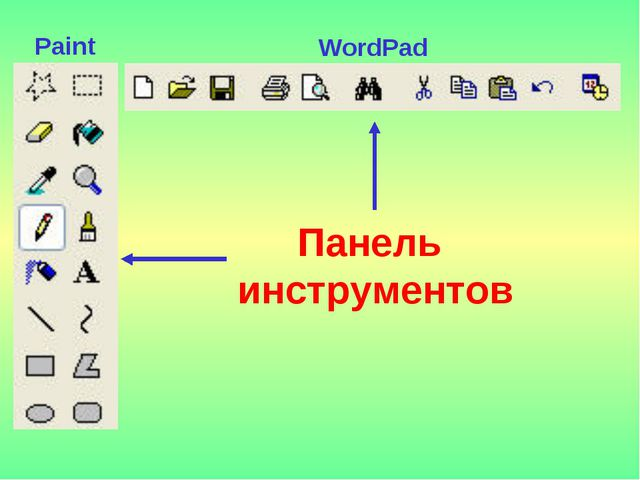 Панель инструментов WordPad Paint