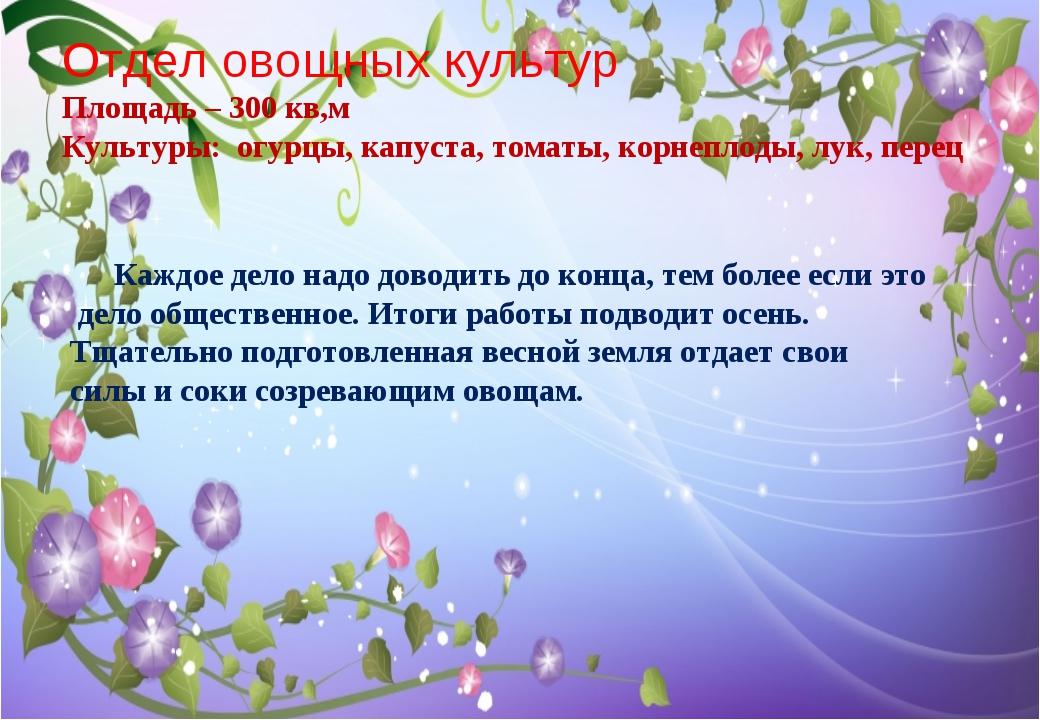 Отдел овощных культур Площадь – 300 кв,м Культуры: огурцы, капуста, томаты, к...
