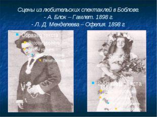 Сцены из любительских спектаклей в Боблове. - А. Блок – Гамлет. 1898 г. - Л.