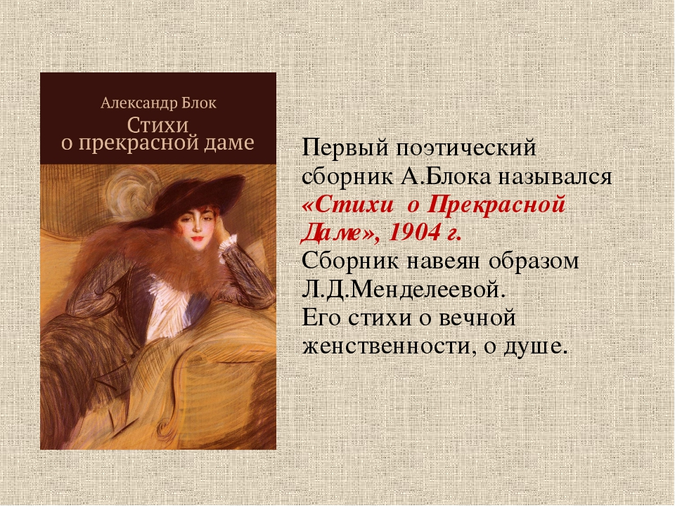 Первый поэтический сборник А.Блока назывался «Стихи о Прекрасной Даме», 1904...