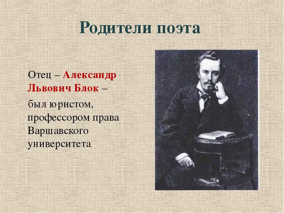 Родители поэта Отец – Александр Львович Блок – был юристом, профессором прав...