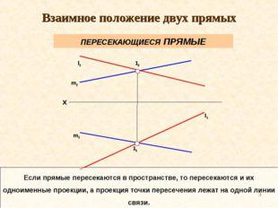 * m2 l2 m1 l1 12 11 Если прямые пересекаются в пространстве, то пересекаются