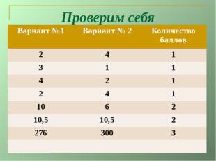 Проверим себя Вариант №1 Вариант № 2 Количество баллов 2 4 1 3 1 1 4 2 1 2 4