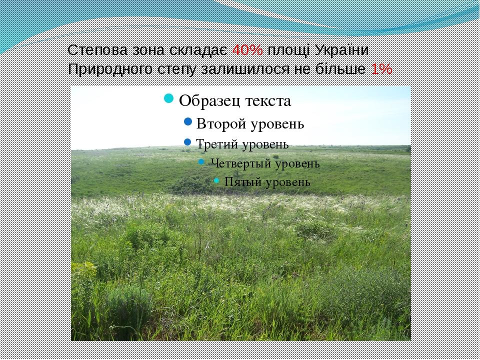 Степова зона складає 40% площі України Природного степу залишилося не більше 1%
