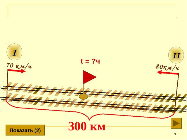 * 80км/ч II I 70 км/ч Показать (2) t = ?ч