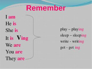 Remember I am He is She is It is Ving We are You are They are play – play