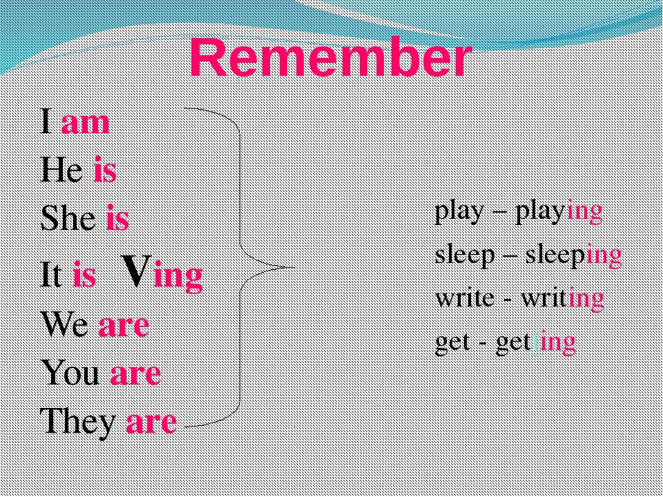 Remember I am He is She is It is Ving We are You are They are play – play...