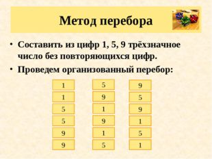 Метод перебора Составить из цифр 1, 5, 9 трёхзначное число без повторяющихся