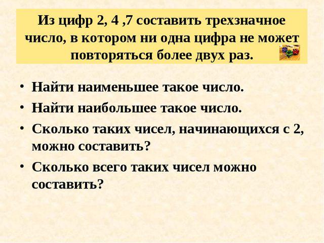 Из цифр 2, 4 ,7 составить трехзначное число, в котором ни одна цифра не может...