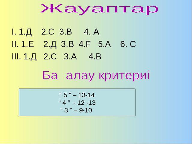 """І. 1.Д 2.С 3.В 4. А ІІ. 1.Е 2.Д 3.В 4.F 5.А 6. С ІІІ. 1.Д 2.С 3.А 4.В """" 5 """" –..."""