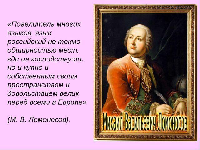 «Повелитель многих языков, язык российский не токмо обширностью мест, где он...