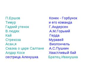 П.Ершов Конек - Горбунок Тимур и его команда Гадкий утенок Г.Андерсен В людях