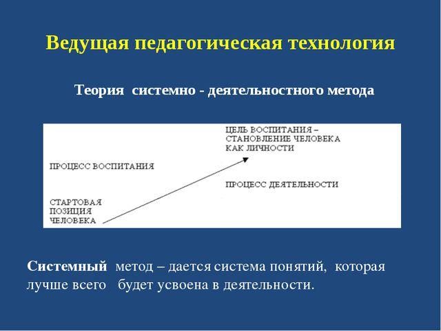 Ведущая педагогическая технология Теория системно - деятельностного метода Си...