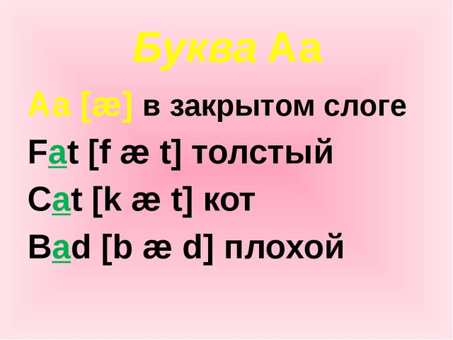 Буква Aa Aa [æ] в закрытом слоге Fat [f æ t] толстый Cat [k æ t] кот Bad [b æ...