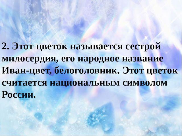 2. Этот цветок называется сестрой милосердия, его народное название Иван-цве...