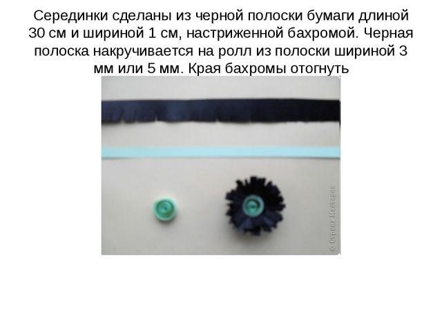 Серединки сделаны из черной полоски бумаги длиной 30 см и шириной 1 см, настр...