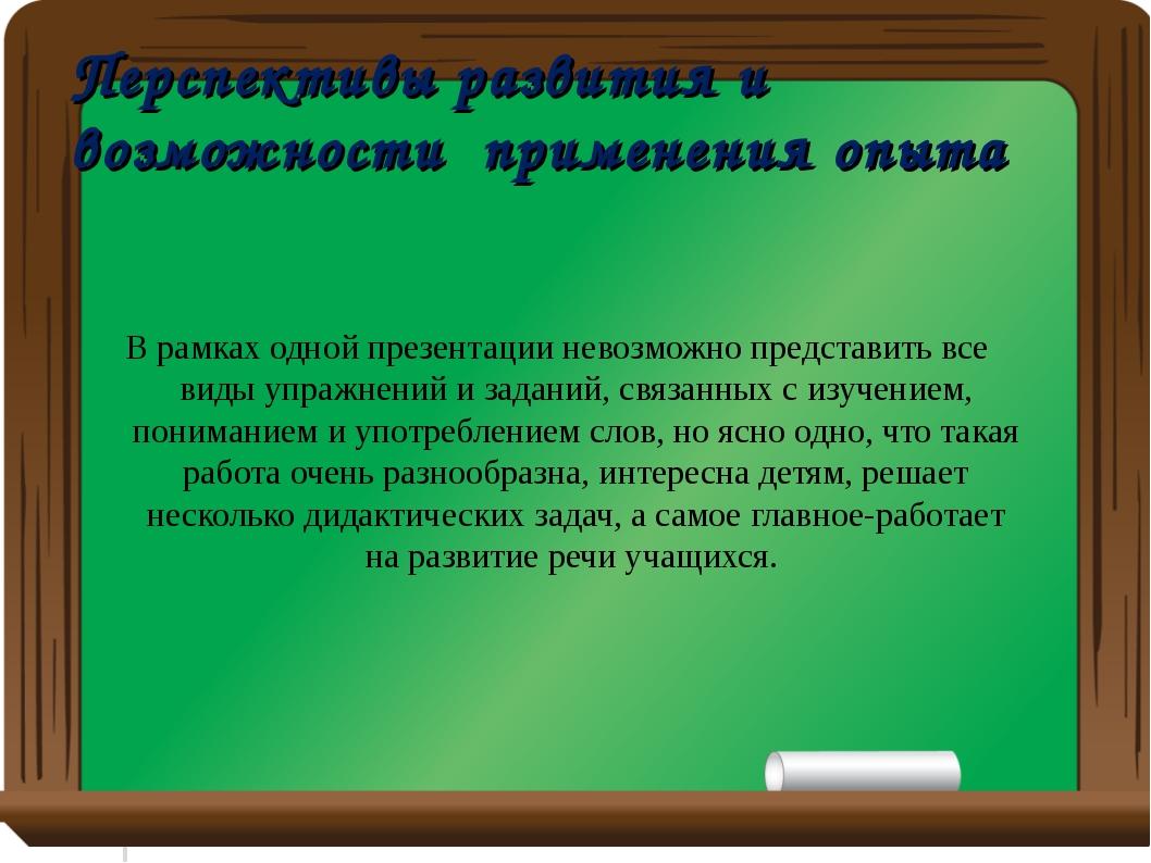 Перспективы развития и возможности применения опыта В рамках одной презентаци...
