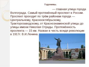 . Годонимы. Проспе́кт им. В. И. Ле́нина — главная улица города Волгограда. Са