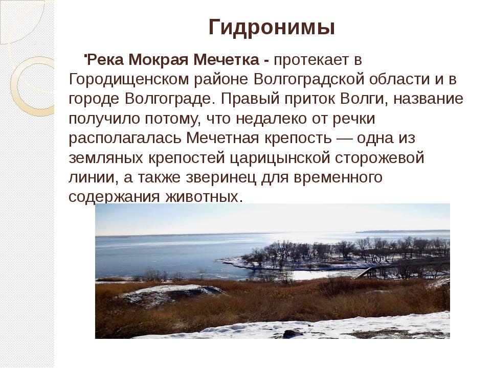 . Гидронимы Река Мокрая Мечетка - протекает в Городищенском районе Волгоградс...