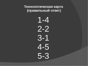 1-4 2-2 3-1 4-5 5-3 Технологическая карта (правильный ответ)