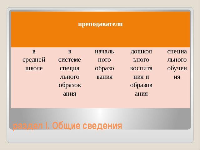 раздел I. Общие сведения преподаватели в средней школе в системе специального...