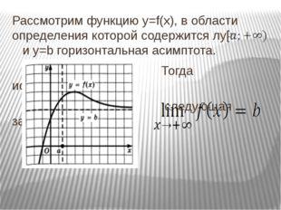 Рассмотрим функцию y=f(x), в области определения которой содержится луч и у=b