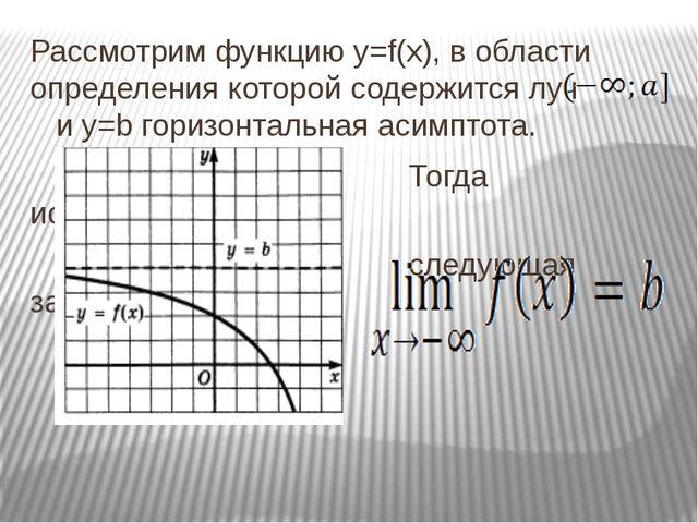 Рассмотрим функцию y=f(x), в области определения которой содержится луч и у=b...