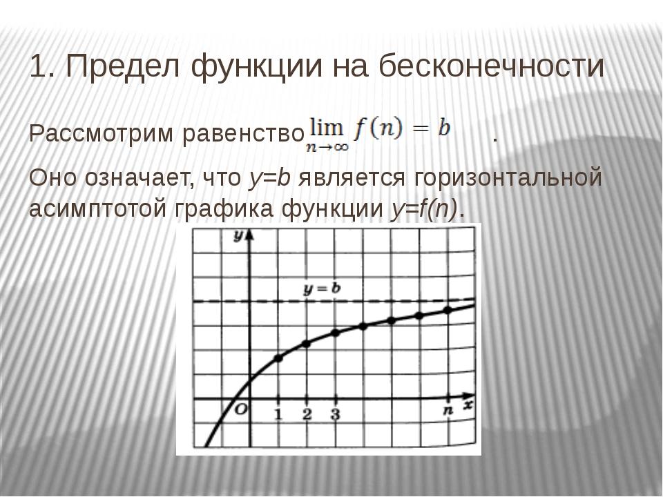 1. Предел функции на бесконечности Рассмотрим равенство . Оно означает, что у...