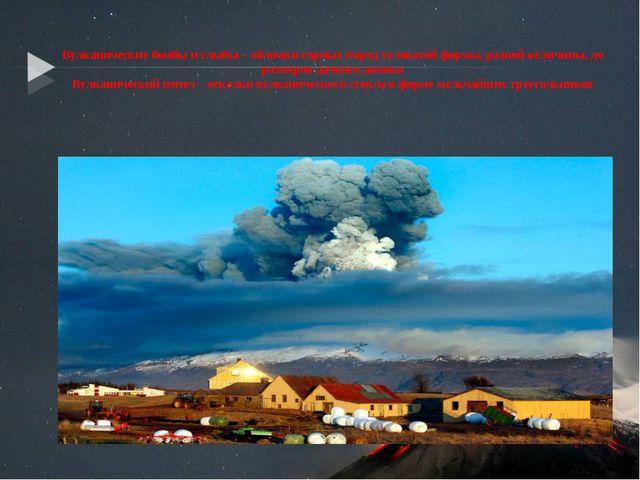 Вулканические бомбы и глыбы – обломки горных пород угловатой формы, разной в...