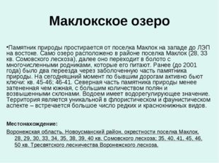 Маклокское озеро Местонахождение: Воронежская область, Новоусманский район, о