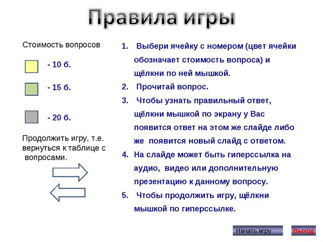 Выбери ячейку с номером (цвет ячейки обозначает стоимость вопроса) и щёлкни...