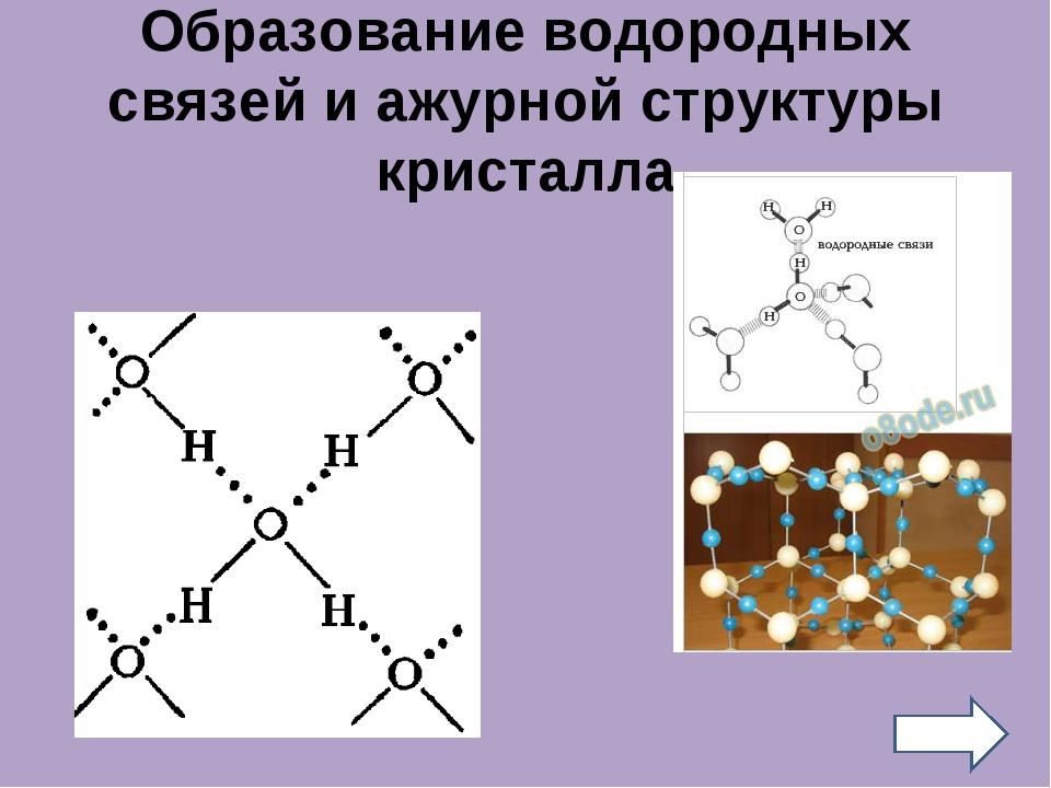 Образование водородных связей и ажурной структуры кристалла