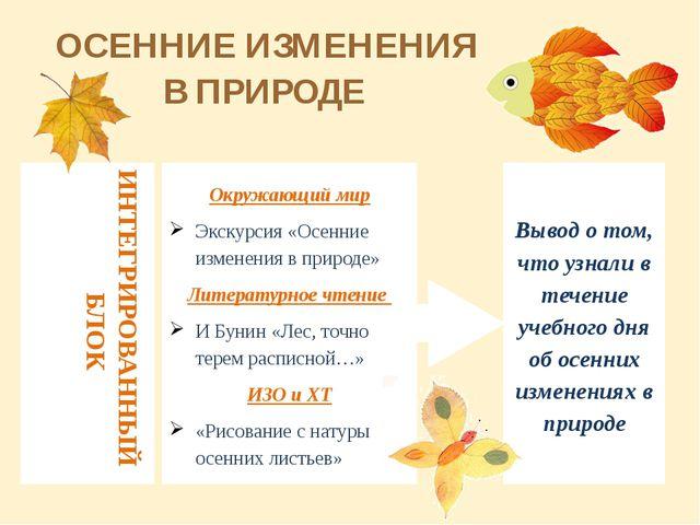 ИНТЕГРИРОВАННЫЙ БЛОК Окружающий мир Экскурсия «Осенние изменения в природе» Л...