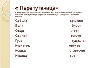 « Перепутаница» Соотнести существительные из левой колонки с глаголами из пра