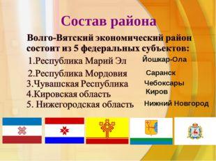 Состав района Йошкар-Ола Саранск Чебоксары Киров Нижний Новгород