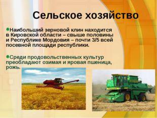 Сельское хозяйство Среди продовольственных культур преобладают озимая и ярова