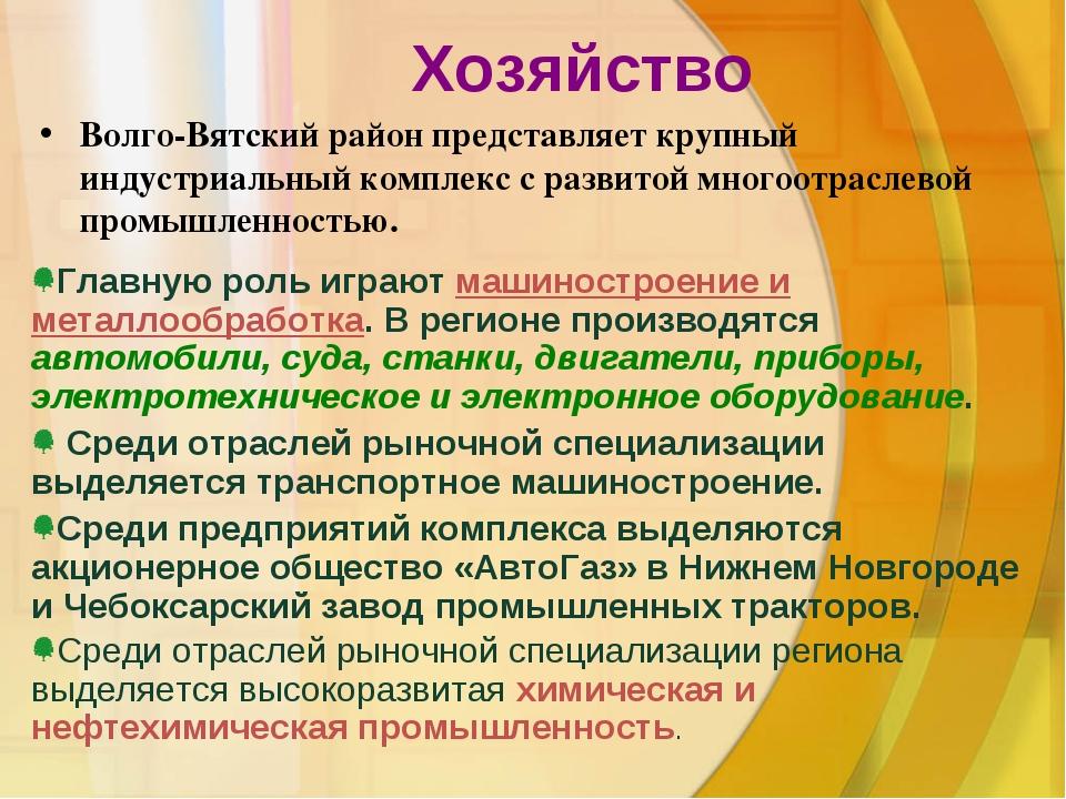 Хозяйство Волго-Вятский район представляет крупный индустриальный комплекс с...