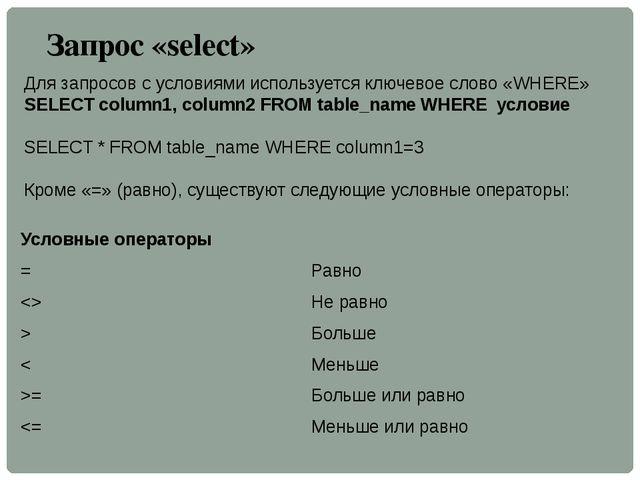 Запрос «select» Для запросов с условиями используется ключевое слово «WHERE»...