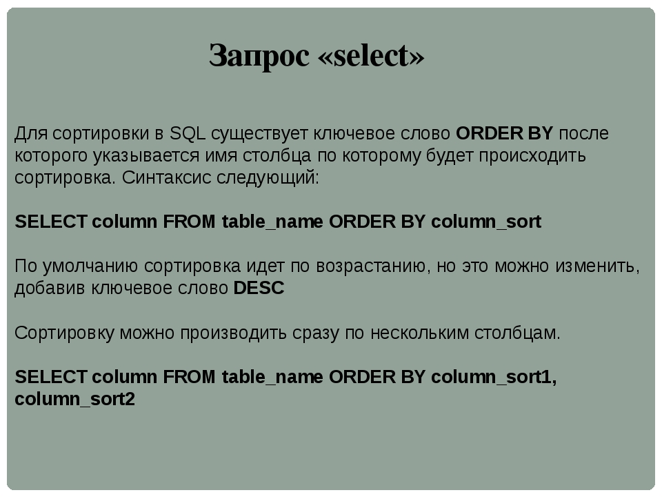 Запрос «select» Для сортировки в SQL существует ключевое словоORDER BYпосле...