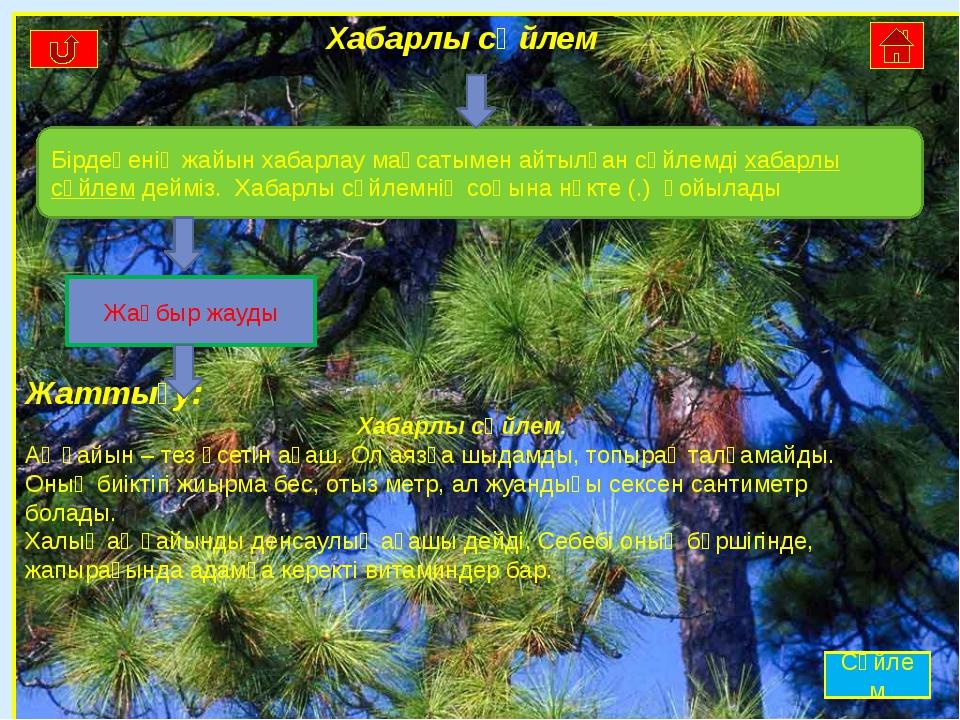 Хабарлы сөйлем Жаттығу: Хабарлы сөйлем. Ақ қайын – тез өсетін ағаш. Ол аязға...